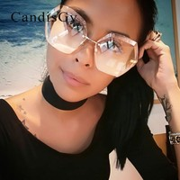 Luxury Fashion Vintage Metal Retro Women Rimless Oversize transparent Sunglasses Clear Lens Brand Designer Sun Glasses Eyewear