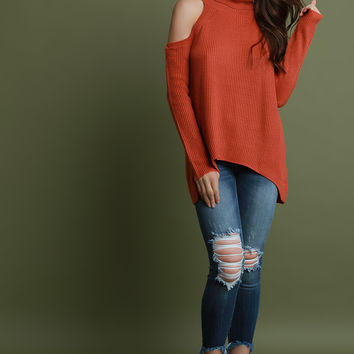 Rib Knit Cold Shoulder Turtleneck Sweater Top | UrbanOG