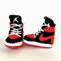 Air Jordan Baby Crochet Sneakers, Nike Air Jordan Shoes, Red Air Jordan House Shoes, Nike Toddler Air Jordan Retro Shoes, Newborn Bootie