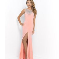 Coral Jeweled & Sequin Neck Open Back Gown