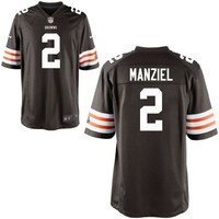 Mens Nike Johnny Manziel Brown Cleveland Browns 2014 NFL Draft #2 Pick Round 1 Game Jersey