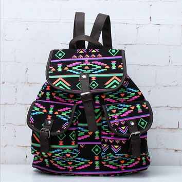 Day-First™ Lightweight Ethnic Daypack Tribal Aztec Canvas Backpack Travel Bag