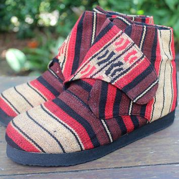 Tribal Naga Retro Embroidered Vegan Womens Ankle Bootie, Shoe, Boot