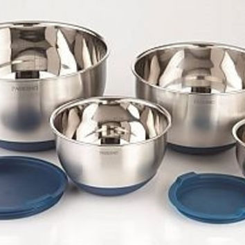 4pc Stainless steel mixing bowls w/silicone base and lids -BLUE