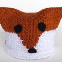 Baby Fox Hat Photo Prop Crochet Square Hat