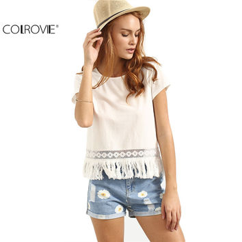 COLROVIE Ladies Casual Shirt New Arrival Cute  Summer Style Women Top White Crew Neck Short Sleeve Tassel Hem Blouse