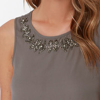 Embellish the Story Grey Beaded Top