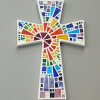 "Mosaic Wall Cross, Large, White with Rainbow Glass, ""Blessed"", Handmade Stained Glass Mosaic Cross Wall Decor, 15"" x 10"""