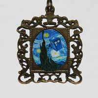 Starry Night Police Box Rectangle Pendant