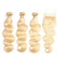 Russian blonde Remy Hair Body Wave Hair 3 Bundles With Closure 613# with 4x4 Closure