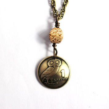 Greek Owl Domed Coin Necklace, Phoenix Pendant, Wire Wrapped Jasper Stone Bead, 1 Drachma, 1973, Jewelry by Hendywood