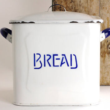 Vintage Enamel Bread Box - Rustic Farmhouse Kitchen Storage Canister or Container