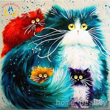 Diy oil painting by numbers abstract acrylic paint animal color cats  decorative canvas painting coloring by number drawing Y080