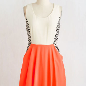 ModCloth Colorblocking Short Length Sleeveless A-line Boardwalk Window Shopping Dress