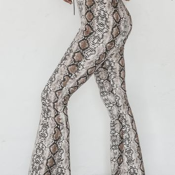 She's A Total Snake Printed Flare Pants