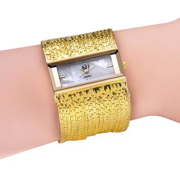 Vogue Girls Fashionable Multi Layers Bracelet Watch European Popular Wide Bangle Square Clock  ~ TT@88