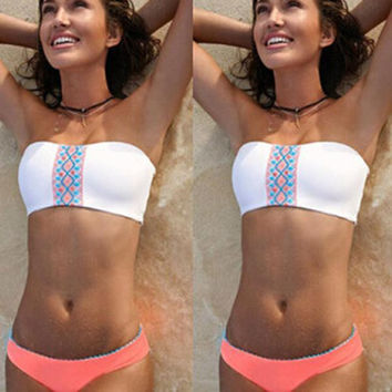 Hot New Arrival Beach Summer Swimsuit White Sexy Bra Low Waist Swimwear Bikini [4914746436]