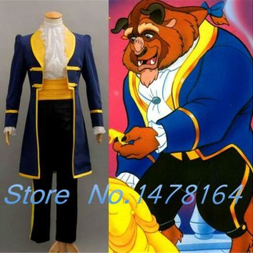 New Hot Beauty and the Beast Prince Adam party halloween Cosplay Adult Costumes Suit Full Set Any Size Free shipping