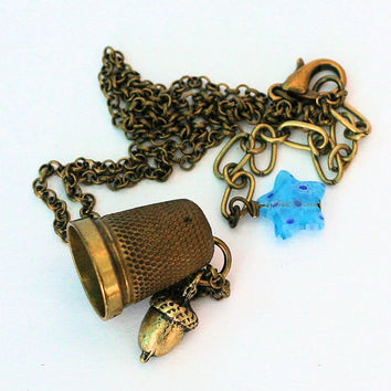 Acorn and Thimble Peter Pan Necklace in Brass Second Star Right Peter Pan and Wendy