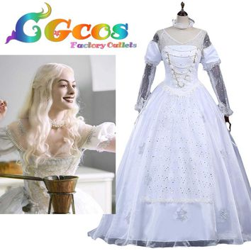 Free Shipping COS Cosplay Costume Alice in Wonderland  Alice Through the Looking Glass White Queen Halloween Christmas Uniform