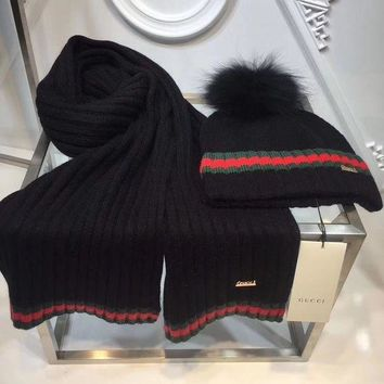 DCCKNQ2 GUCCI Fashion Beanies Knit Winter Hat Cap Scarf Scarves Set Two-Piece8