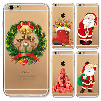 New Arrival Christmas Santa Claus Case For iPhone 4 4s 5 5s 5c SE 6 6s Plus 6Plus Soft TPU Slicone Phone Back Cover Shell cover