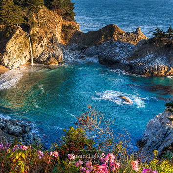 California Beach Photo, McWay Falls Print, Big Sur Print, Travel Photography, Matted Print, Canvas Gallery Wrap, Large Wall Decor, Fine Art