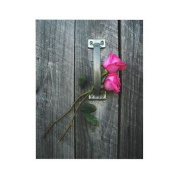 Barn Door and Hot Pink Roses Wedding Invitation from Zazzle.com