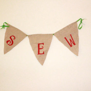 Sewing Room Decoration, Sew Burlap Banner!