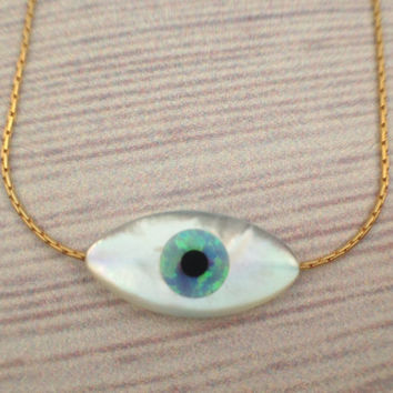 Evil Eye protection necklace, Angel Eye double sided MOP marquise, Devil Eye blue opal filling , gold filled chain, 1 pcs - celebrity style