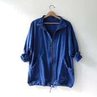 vintage oversized hoodie. Dark blue drawstring jacket. Zip up shirt with pockets.