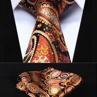 "TP706Z8S Orange Blue Paisley 3.4"" Silk Woven Men Tie Necktie Handkerchief Set"