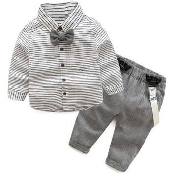 Toddler Baby Boy Clothing Set Striped White Long Sleeves Shirt with Bow Tie + Sling Strap Pants 2pcs Set for Spring Autumn