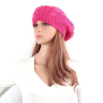 MDIG9GW Winter Hat For Women Braided Baggy Beanie Beret Crochet Knitted Hat Warm Female Cap