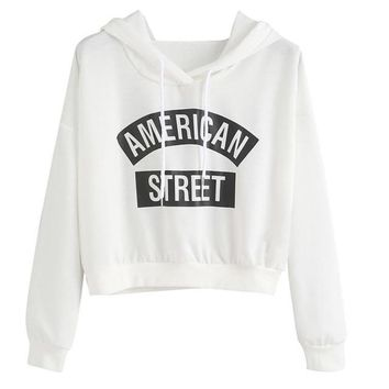 T-shirts Letter Print Women long Sleeve White Dark Grey Hooded Pullovers For Women Tee shirt Female Casual Loose Tops 2016