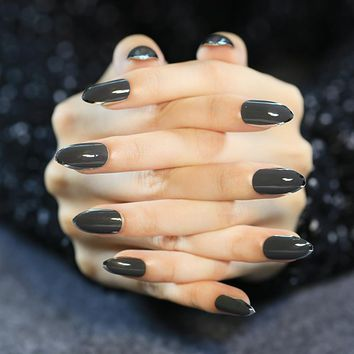 New Arrival 24pcs False Nails Black Artificial Nails With Metal side Dark Grey Pointed Full Cover Fake Nails Z342