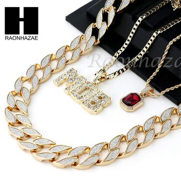 "ICED OUT RUBY MOB PENDANT 24"" 30"" CUBAN LINK ROPE CUBAN CHAIN NECKLACE SET D013"