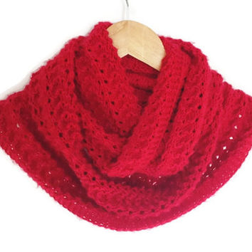 Red Knitting Infinity Scarf, Antibacterial Yarn, Lightweight Soft Handknit