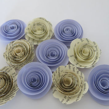"Book page and lilac Purple paper flowers, 10 piece set, 1.5"" pastel roses, books wedding theme, baby shower decor, bridal shower decorations"