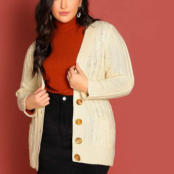 V-Neck Button Front Cable Knit Cardigan