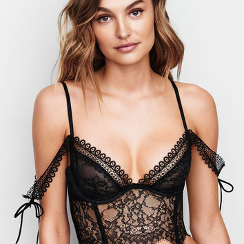Very Sexy Lace Off-the-Shoulder Bustier,Black Lingerie