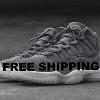 NIKE AIR JORDAN XI 11 RETRO PREMIUM PINNACLE SUEDE COOL GREY SAIL  Basketball Sneaker  AJ11 914433-003