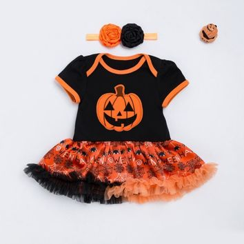 Halloween Baby Costume Baby Girls Boys Rompers Newborn Party Pumpkin Jumpsuits Tutu Dress Cartoon Baby Rompers+Headband 2pcs Set