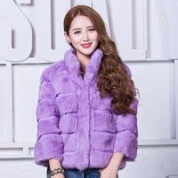 Natural Fur Coat Women's Real Fur Jacket Genuine Rabbit Fur Coats Overcoat