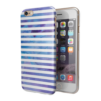 White Horizontal Stripes Over Purple and Blue Clouds 2-Piece Hybrid INK-Fuzed Case for the iPhone 6/6s or 6/6s Plus