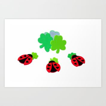 Lucky Ladybugs Art Print by Henrik Lehnerer