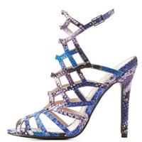 Blue Combo Faux Snakeskin Caged Sandals by Charlotte Russe