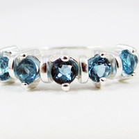 London Blue Topaz Wedding Band Sterling Silver 925, December Birthstone Ring, Wedding Jewelry, London Blue Topaz Ring