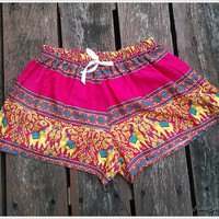 Pink Elephant Shorts Printed Comfy Beach For Summer Hippie Hipster Exotic Boho Clothing Aztec Ethnic Bohemian Ikat Boxers Pants Thai Cloth