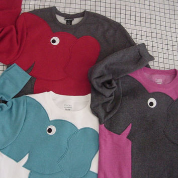 Elephant sweater, elephant sweatshirt, elephant shirt trunk sleeve shirt adult sizes, your color and size